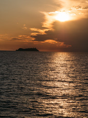 Giraglia island at sunset: the northest point of Corsica