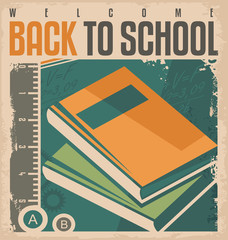 Back to school vintage vector label design.
