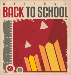 Back to school retro poster design template.