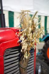 roter Oldtimer Traktor bei Erntedank Fest