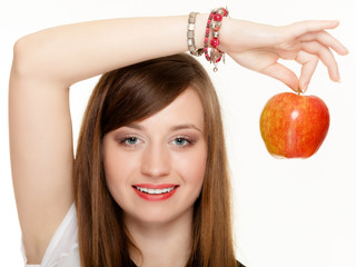 Diet. Girl holding apple seasonal fruit.