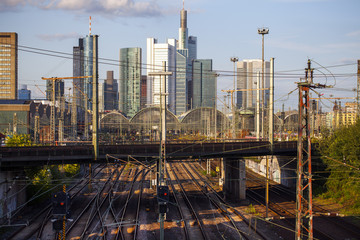 Railway and Frankfurt Landmark