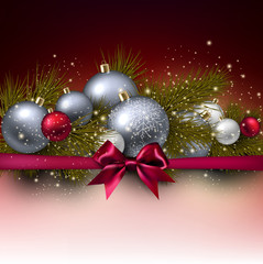 Christmas background with balls and fir twig. Colorful Xmas baub