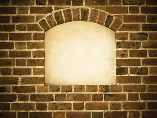 Old arch arc niche with copy space in brick wall background