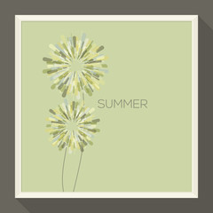 Poster with abstract pastel-colored green flower. Vector