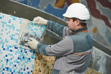 tilers at industrial floor tiling renovation