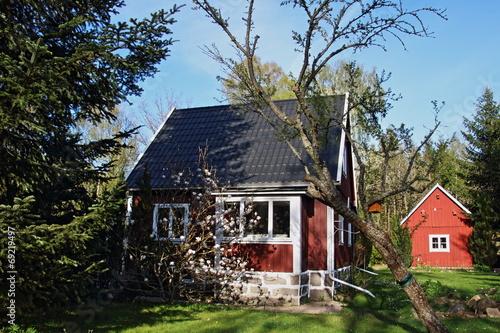 canvas print picture rotes Schweden Haus