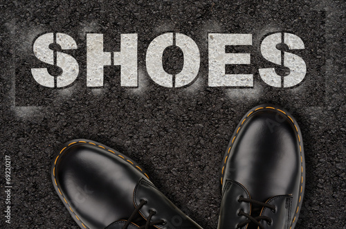 canvas print picture Black shoes