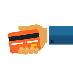 Businessman Giving Money Credit Card Flat Icon