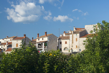 View of several houses in the city of Bale, Istria, Croatia