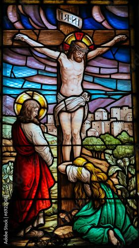 Naklejka Jesus on the cross - stained glass