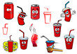 Cartoon cola and soda drinks - 69220878