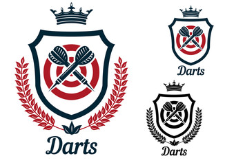 Darts emblems or signs set