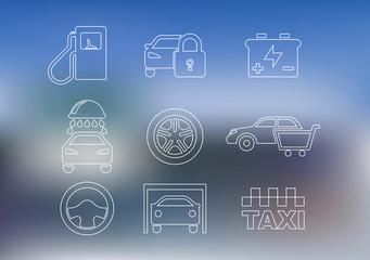 Outline car service icons set