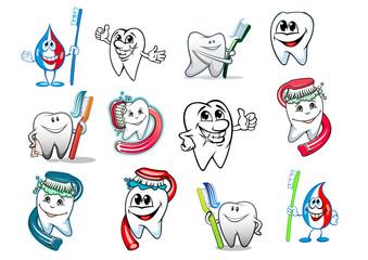 Cartoon tooth hygiene set