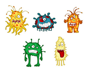 Cartoon monsters and demons set