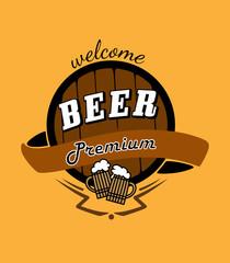Tankard beer and barrel emblem