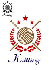 Hand knitting emblem