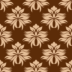 Floral beige on brown damask seamless pattern