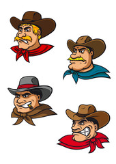 Cartoon western brutal cowboys mascots