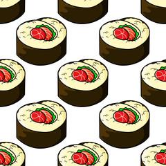 Seamless pattern of japanese sushi seafood emblem