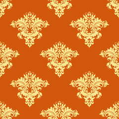 Retro yellow and orange floral seamless pattern
