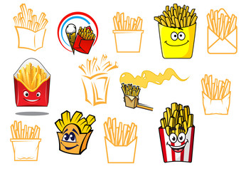 Cartoon french fries takeaway food designs