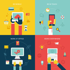 Flat design vector illustration internet icons