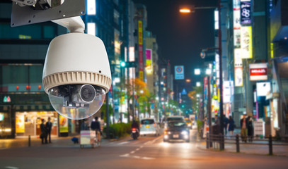 CCTV Camera or surveillance oeprating on street at night