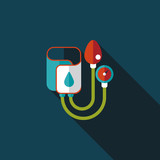 Sphygmomanometer flat icon with long shadow