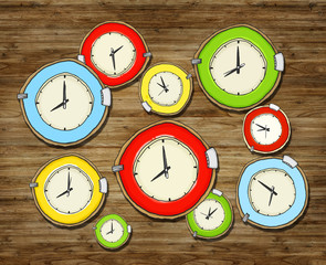 Multicolored Group of Clock Isolated