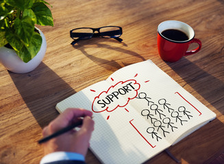 Man Writing and Planning Support Concepts