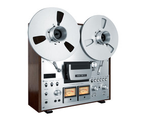 Analog Stereo Open Reel Tape Deck Recorder Vintage Isolated