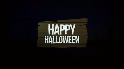 Happy Halloween animation on wooden sign