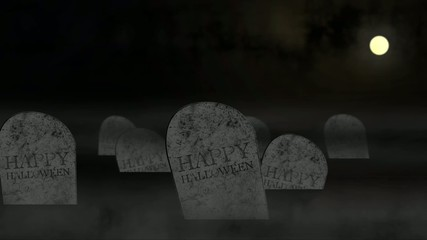Halloween animation with tombs under moonlight