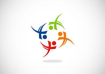 happy people circle diversity sport vector logo