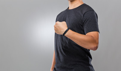 Man with activity tracker