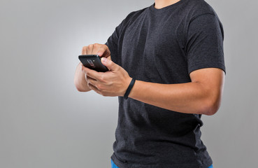 Man use mobile phone sync with activity tracker
