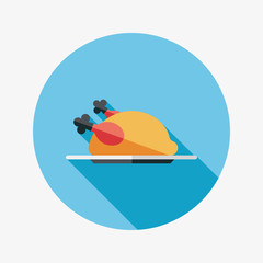 chicken food flat icon with long shadow,eps10