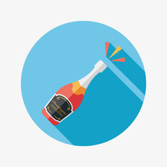 Wine bottle flat icon with long shadow,eps10