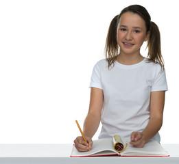 Cute young schoolgirl in class