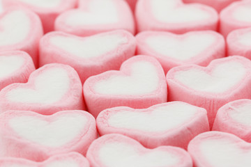 Heart shape marshmallow background