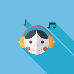 Music flat icon with long shadow,eps10