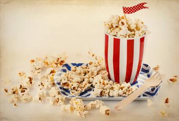 Retro popcorn in a striped bowl