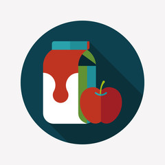 milk and apple flat icon with long shadow,eps10