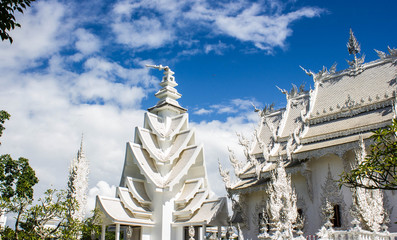 Magnificently grand white church, Rong Khun temple, Thailand