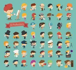 Set of 50 professions
