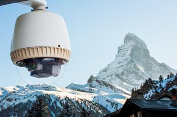 CCTV Camera or surveillance orperating with Matterhorn snow moun