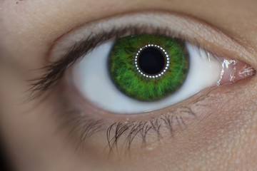 woman green eye closeup