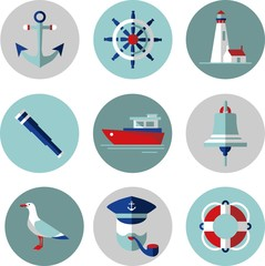 Set of flat icons in nautical style